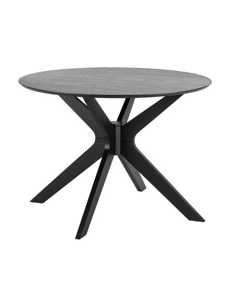 Tavolo da pranzo rotondo in legno di quercia Duncan, Piano d'appoggio: pannello di fibra a media, Gambe: legno di betulla massicci, Nero, Ø 105 x Alt. 75 cm