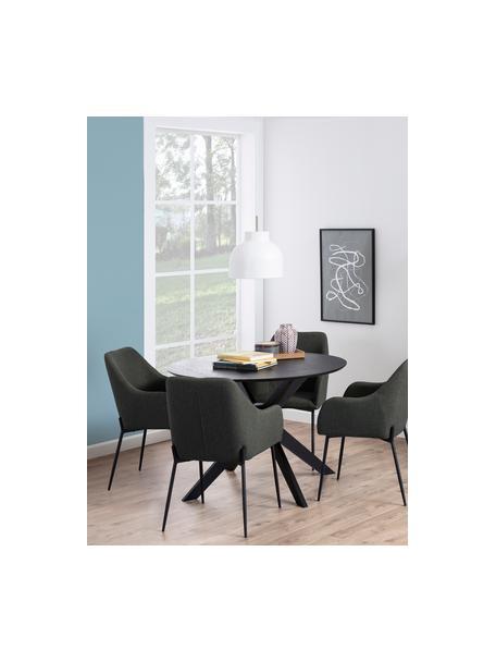Tavolo da pranzo rotondo in legno di quercia Duncan, Gambe: legno di betulla massicci, Nero, Ø 105 x Alt. 75 cm