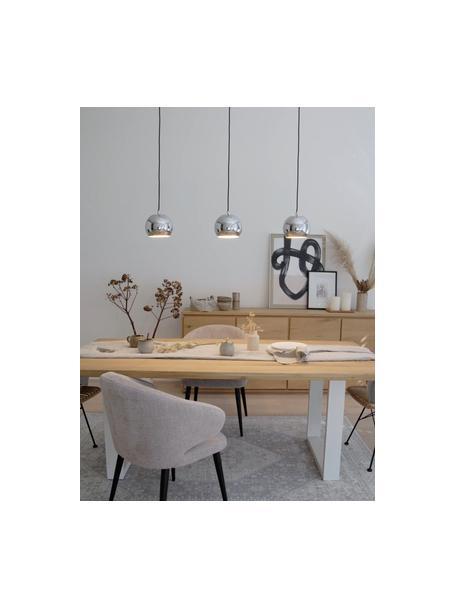 Lámpara de techo grande Ball, Anclaje: metal pintado, Cable: cubierto en tela, Cromo brillante, negro mate, An 100 x Al 18 cm