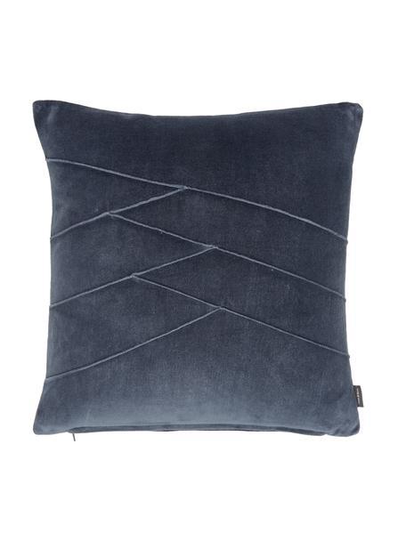 Fluwelen kussen Pintuck in blauw met verhoogd structuurpatroon, met vulling, Weeftechniek: fluweel, Blauw, 45 x 45 cm