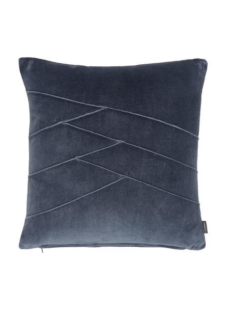 Cojín de terciopelo Pintuck, con relleno, Funda: 55%rayón, 45%algodón, Azul, An 45 x L 45 cm