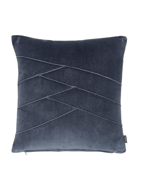 Cuscino in velluto con motivo e imbottitura Pintuck, Rivestimento: 55% rayon, 45% cotone, Blu, Larg. 45 x Lung. 45 cm
