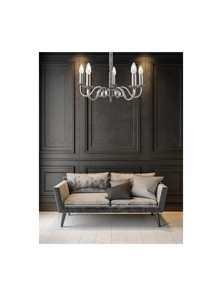 Araña Richmond, estilo vintage, Estructura: acero satinado, Anclaje: acero satinado, Cable: plástico, Cromo satinado, Ø 52 x Al 56 cm