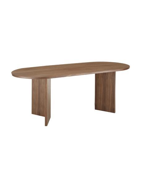 Mesa de comedor ovalada Joni, Tablero de fibras de densidad media (MDF) chapado en madera de nogal pintado, Nogal, An 200 x F 90 cm