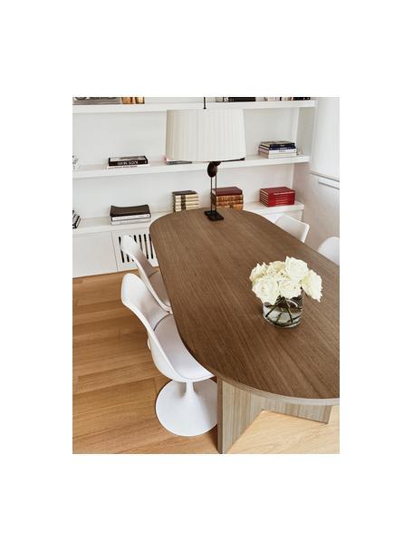 Mesa de comedor ovalada en nogal Joni, Tablero de fibras de densidad media (MDF) chapado en madera de nogal pintado, Nogal, An 200 x F 90 cm