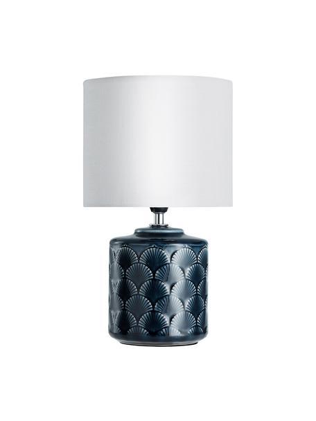 Kleine Nachttischlampe Glowing Midnight aus Keramik, Lampenschirm: Leinen, Lampenfuß: Keramik, Dunkelblau, Weiß, Ø 18 x H 32 cm