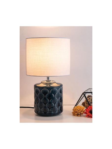 Kleine nachtlampje Glowing Midnight van keramiek, Lampenkap: linnen, Lampvoet: keramiek, Donkerblauw, Wit, Ø 18 x H 32 cm