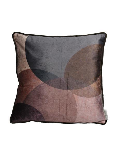 Cuscino in velluto Circles, Rivestimento: velluto di poliestere, Marrone, lilla, Larg. 45 x Lung. 45 cm