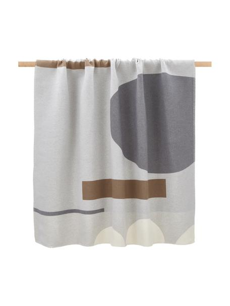 Koc z bawełny Nova, 85% bawełna, 8% wiskoza, 7% poliakryl, Odcienie szarego, odcienie kremowego, brązowy, S 145 x D 220 cm