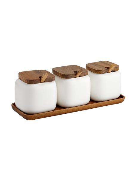 Opbergpottenset Essentials van porselein en acaciahout, 7-delig, Porselein, acaciahout, Wit, acaciahoutkleurig, Set met verschillende formaten