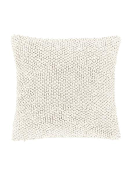 Kussenhoes Indi met gestructureerde oppervlak in crèmewit, 100% katoen, Gebroken wit, 45 x 45 cm