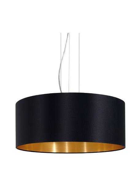 Lampada a sospensione con decoro dorato Jamie, Baldacchino: metallo nichelato, Argentato, nero, Ø 53 x Alt. 24 cm