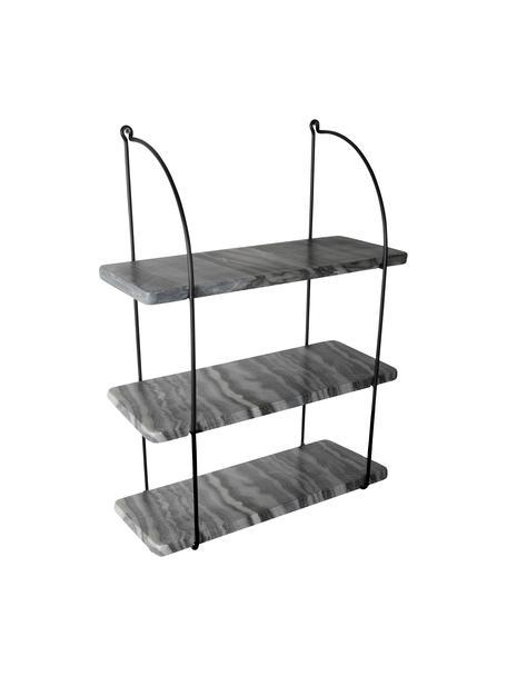 Marmeren wandrek Porter, Wandbevestiging: zwart. Planken: gemarmerd grijs, 40 x 58 cm