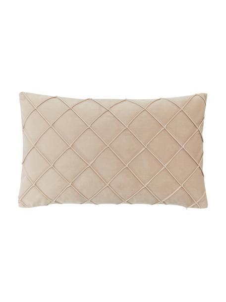 Poszewka na poduszkę z aksamitu Luka, Aksamit (100% poliester), Beżowy, S 30 x D 50 cm
