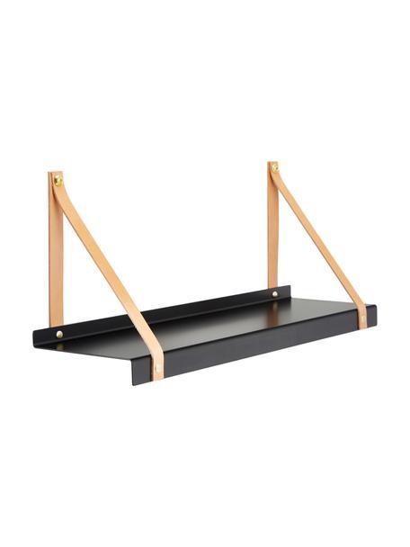 Wandplank Shelfie, Plank: gepoedercoat metaal, Riemen: leer, Zwart, bruin, 50 x 23 cm