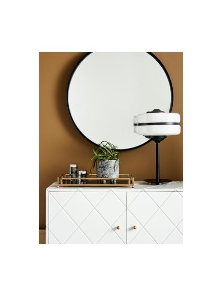 Vassoio decorativo nero e dorato Traika, Cornice: metallo rivestito, Superficie: vetro, Ottonato, nero, Lung. 50 x Larg. 26 cm