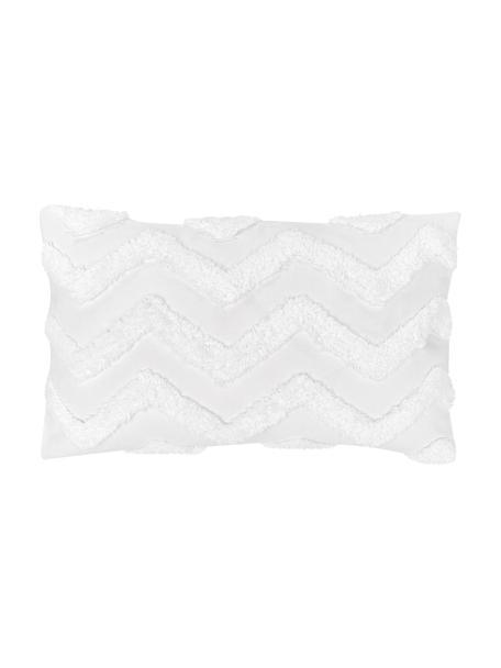 Federa arredo con motivo taftato Zack, 100% cotone, Bianco, Larg. 30 x Lung. 50 cm