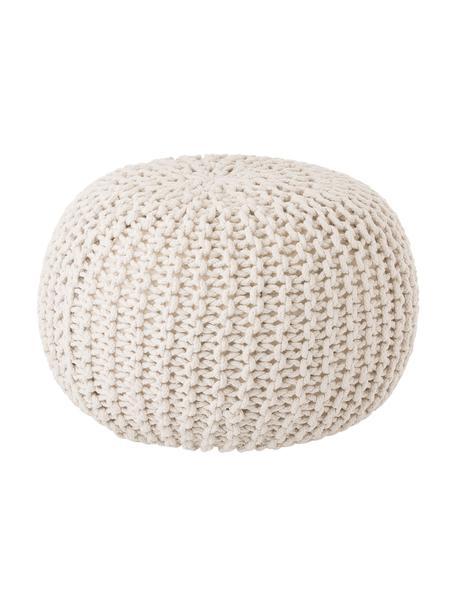 Pouf a maglia fatto a mano Dori, Rivestimento: 100% cotone, Crema, Ø 55 x Alt. 35 cm