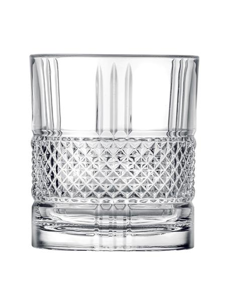 Bicchieri in cristallo con rilievo Brillante 6 pz, Cristallo, Trasparente, Ø 8 x Alt. 9 cm