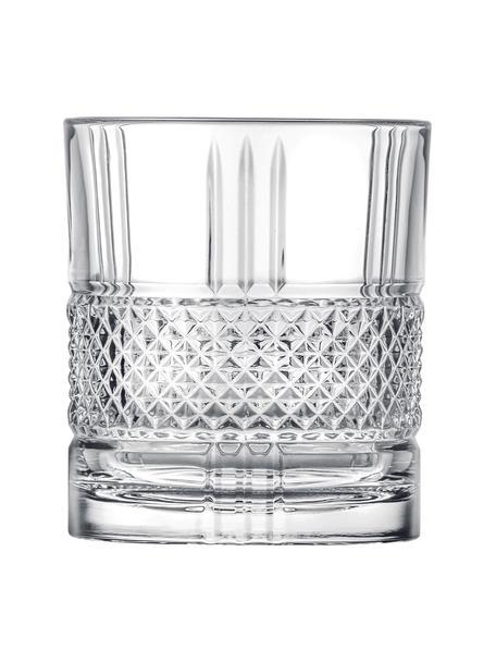 Kristallen glazen Brillante met reliëf, 6 stuks, Kristalglas, Transparant, Ø 8 x H 9 cm