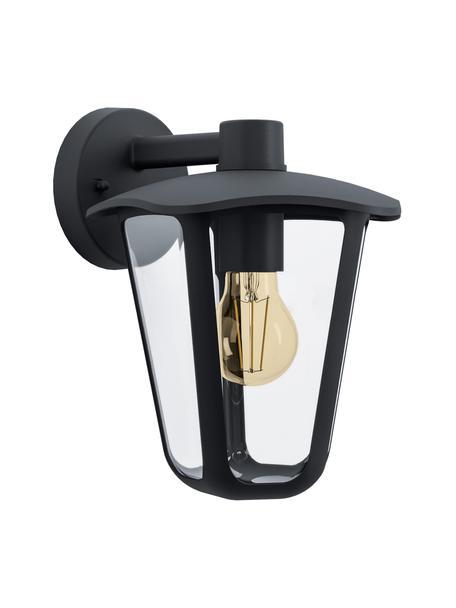 Applique nera da esterno Monreale, Paralume: materiale sintetico, Struttura: alluminio, Nero, Larg. 23 x Alt. 28 cm