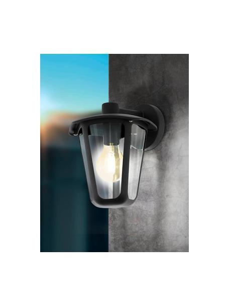 Outdoor wandlamp Monreale in zwart, Lampenkap: kunststof, Zwart, 23 x 28 cm