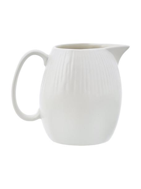 Handgemachtes Milchkännchen Sandvig mit leichtem Rillenrelief, 250 ml, Porzellan, durchgefärbt, Gebrochenes Weiß, Ø 8 x H 9 cm