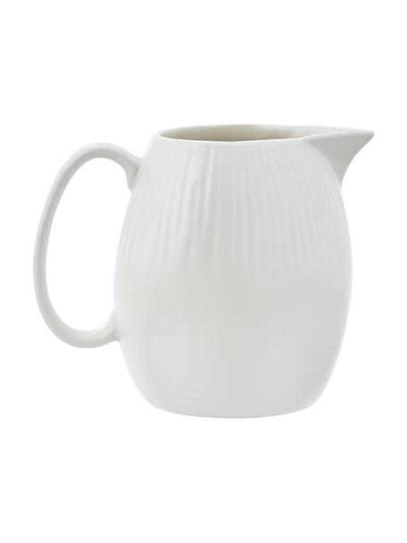 Lechera artesanal Sandvig, 250ml, Porcelana, coloreada, Blanco roto, Ø 8 x Al 9 cm