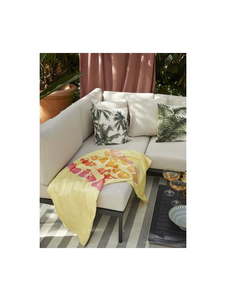 Licht strandlaken Sunshine in geel met opschrift, 55% polyester, 45% katoen zeer lichte kwaliteit, 340 g/m², Geel, multicolour, 70 x 150 cm