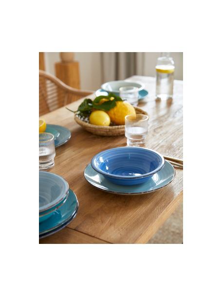 Vajilla artesanal Baita, 6comensales (18pzas.), Gres (dolomita) pintadoamano, Tonos de azul, menta y turquesa, Set de diferentes tamaños