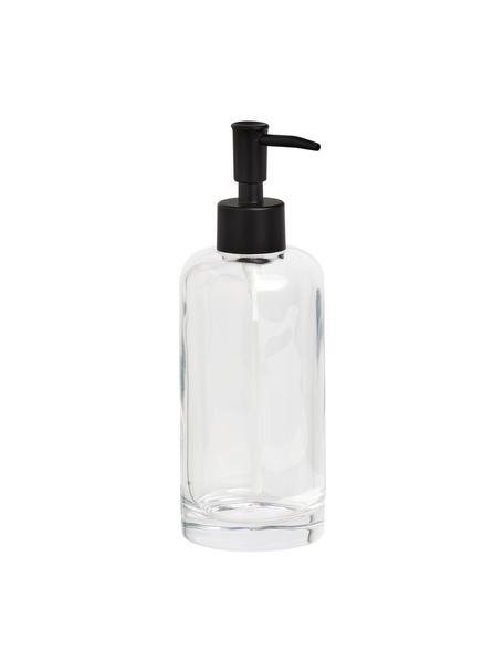 Dosificador de jabón de vidrio Clear, Recipiente: vidrio, Dosificador: metal, Transparente, Ø 7 x Al 20 cm