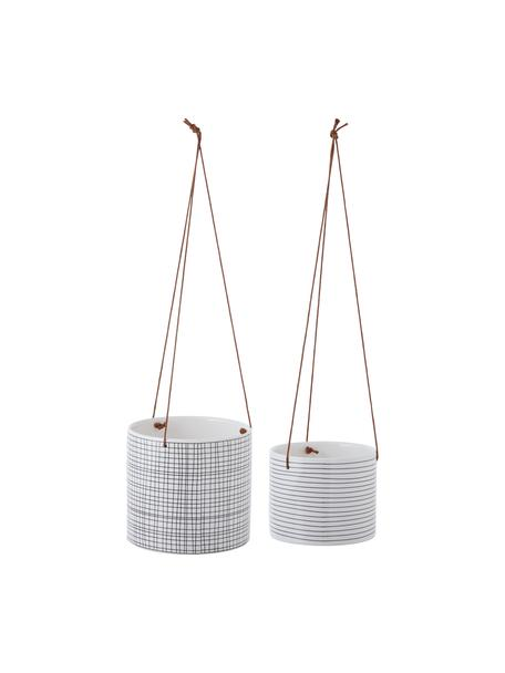 Set de cestas colgantes Sannie, 2pzas., Cesta: piedra dolomita, Negro, blanco, Set de diferentes tamaños