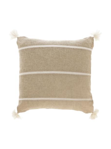 Gestreifte Kissenhülle Silene mit Quasten, 100% Baumwolle, Beige, 45 x 45 cm