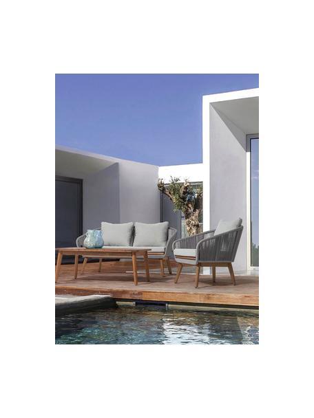 Set lounge de exterior Annecy, 4pzas., Madera, textil, Beige, Set de diferentes tamaños