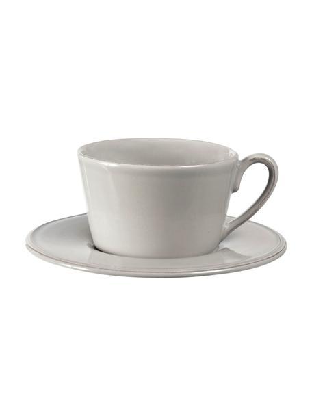 Tazza da tè con piattino stile country Constance, Gres, Grigio chiaro, Ø 19 x Alt. 8 cm