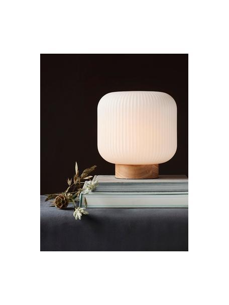 Lampa stołowa w stylu scandi Milford, Biały opalowy, drewno naturalne, Ø 20 x W 21 cm