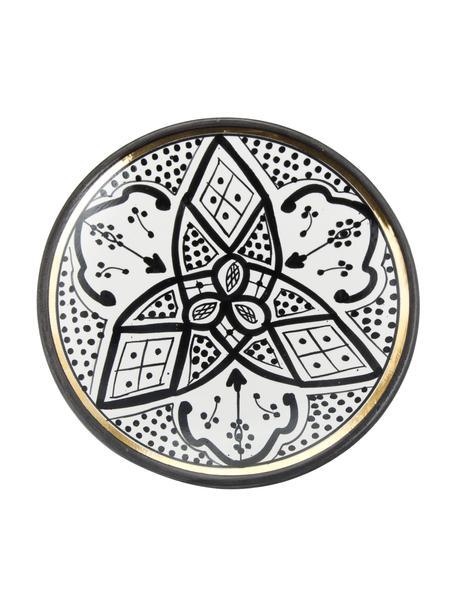 Handgemachter marokkanischer Frühstücksteller Assiette mit Goldrand, Keramik, Schwarz, Cremefarben, Gold, Ø 20 cm