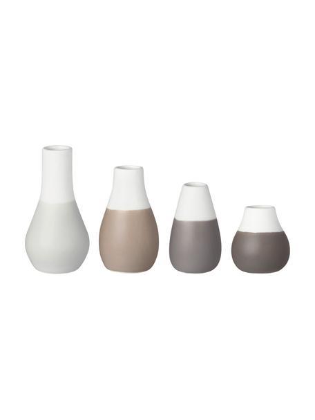 Komplet wazonów z kamionki Pastell, 4 elem., Kamionka z glazurą, Odcienie brązowego, biały, Różne rozmiary