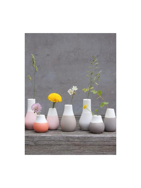 Set de jarrones pequeños de gres Pastell, 3uds., Gres con glaseado, Tonos marrones, blanco, Set de diferentes tamaños