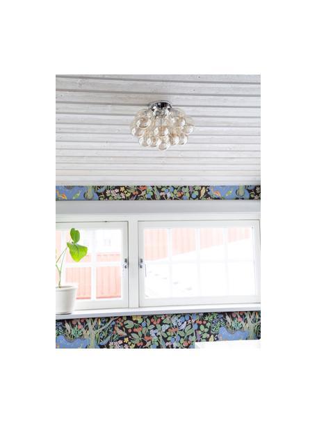 Kleine Glaskugel Deckenleuchte Gross, Baldachin: Nickel, verchromt, Bernsteinfarben, Ø 30 x H 20 cm
