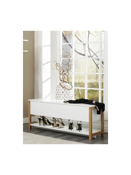 Banco zapatero Northgate Flip, con espacio de almacenamiento, Patas: madera de roble, Blanco, An 120 x Al 48 cm