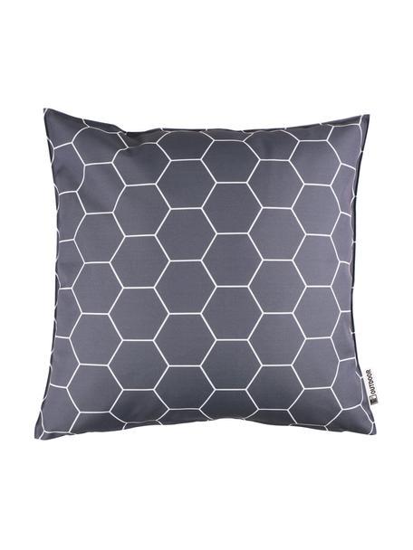 Outdoor kussen met patroon Honeycomb, 100% polyester, Donkergrijs, wit, 47 x 47 cm