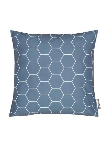 Gemustertes Outdoor-Kissen Honeycomb, 100% Polyester, Dunkelgrau, Weiß, 47 x 47 cm