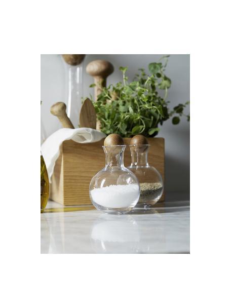 Mundgeblasene Gewürzflaschen Eden mit Holzdeckel, 2 Stück, Flasche: Mundgeblasenes Glas, Verschluss: Eichenholz, Transparent, Eichenholz, Ø 10 x H 10 cm