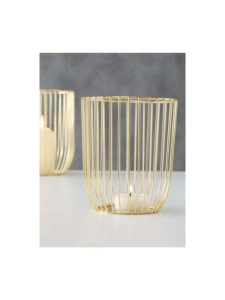 Windlichtenset Liza, 2-delig, Gepoedercoat metaal, Goudkleurig, Set met verschillende formaten
