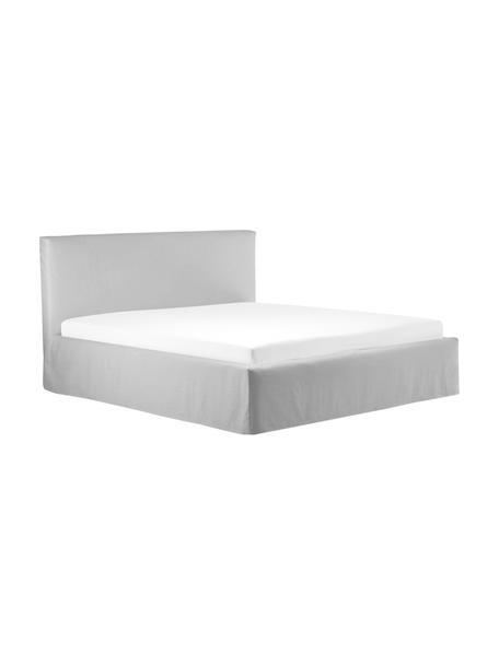 Łóżko tapicerowane ze schowkiem Feather, Korpus: lite drewno sosnowe i pły, Tapicerka: poliester (tkanina strukt, Beżowoszary, S 140 x D 200 cm
