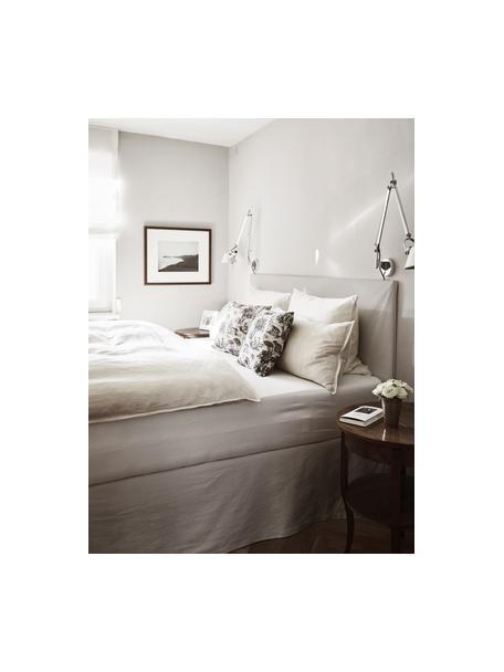 Łóżko tapicerowane z miejscem do przechowywania Feather, Korpus: lite drewno sosnowe, mate, Tapicerka: poliester (tkanina strukt, Beżowoszary, S 140 x D 200 cm