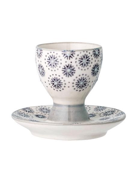 Steingut-Eierbecher Elsa mit Blumenmuster, 4 Stück, Steingut, Grau, Cremefarben, Ø 8 x H 7 cm