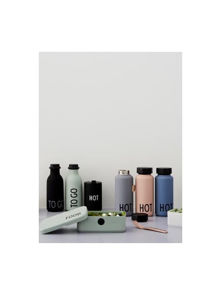 Design koffie-to-go beker Favourite HOT in zwart met opschrift, Gecoat edelstaal, Zwart, Ø 8 x H 13 cm