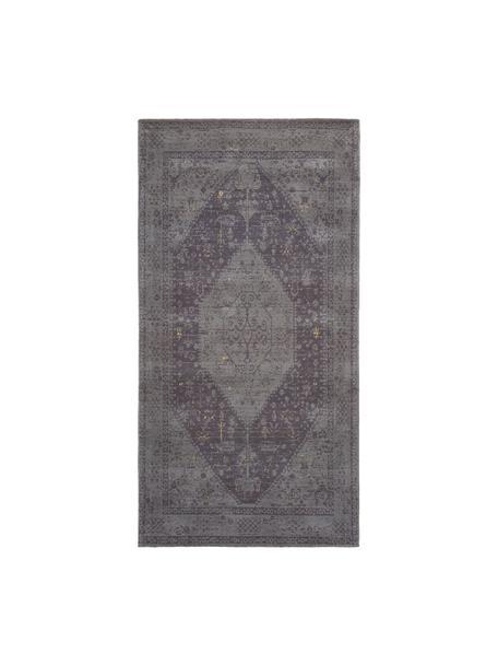 Handgewebter Chenilleteppich Neapel im Vintage Style, Flor: 95% Baumwolle, 5% Polyest, Grau, B 80 x L 150 cm (Grösse XS)
